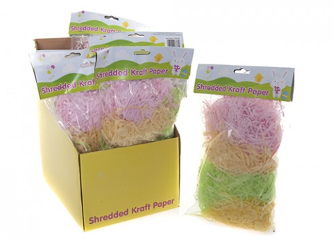 Multi colour bag of 3mm shredded kraft paper