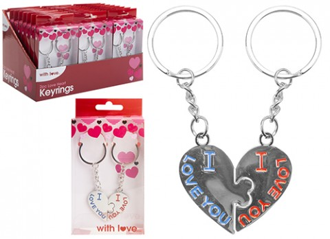 2pc love heart keyring