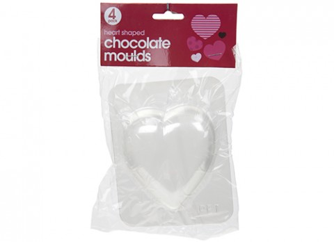 4pk heart shaped chocolate moulds