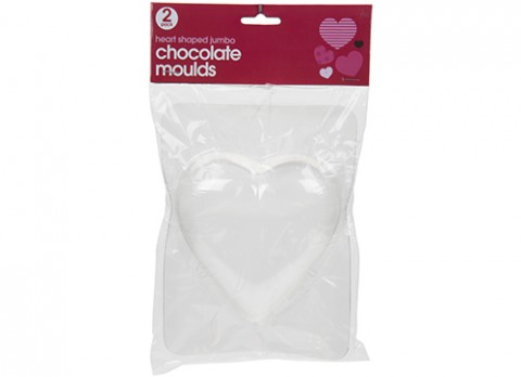 2pk jumbo heart shaped chocolate moulds
