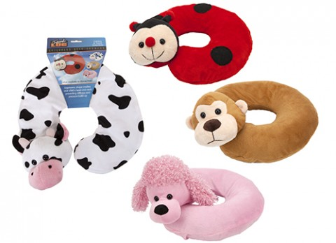 ANIMAL INFLATABLE NECK  CUSHIONS 4 ASSORTED
