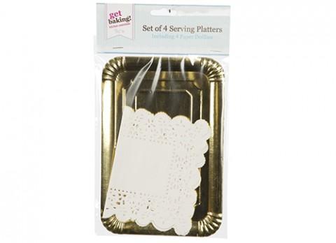 Set 4 gold platters w-doilies