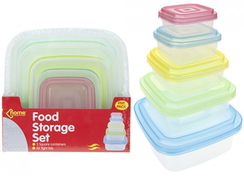 5pc rectangular food storage container w-col airtight lid
