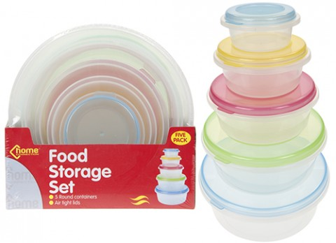 5pc round food storage container w-col airtight lid