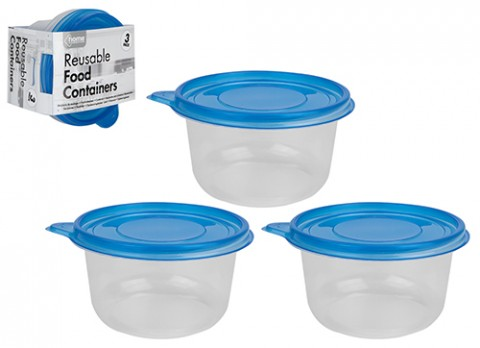 3pce clear round 739ml plastic resuable food container