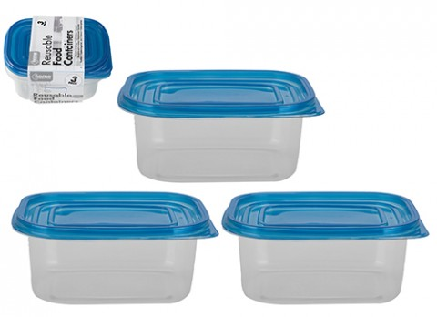 3pc clear oblong 709ml plastic  reusable food container