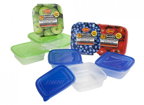 3pc clear square 591ml plastic reusable food containers