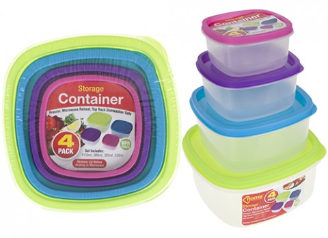 4pc square shaped food storage container