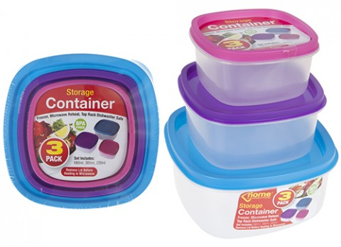 3pc square shaped food storage  container w-lbl insertand shrink