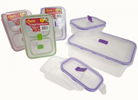 3pc set oblong clip lock food container