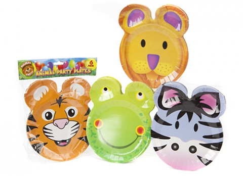 Set of 6 animal face party plates