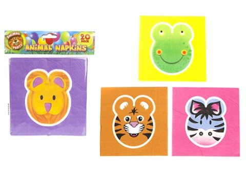 Set of 20 animal face party napkins