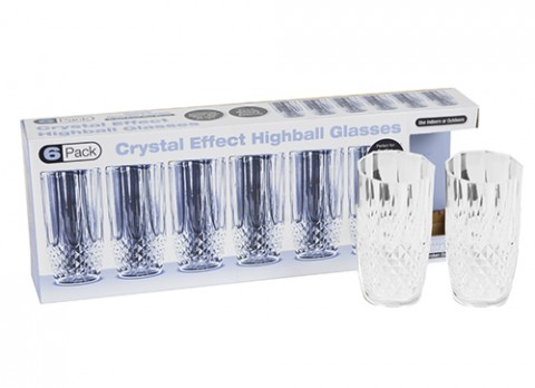 6pc clear crystal cut ps high- ball glasses