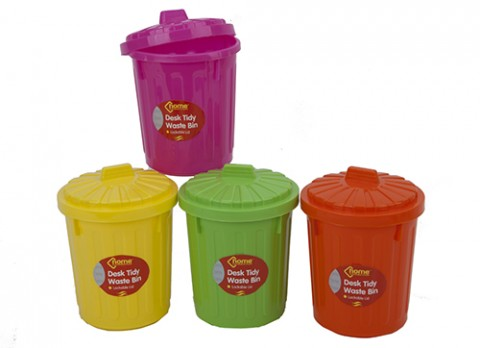Neon dustbin w-lockable lid desk tidy-waste bin