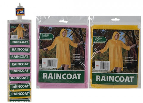 Ladies peva raincoat in poly bag - strip