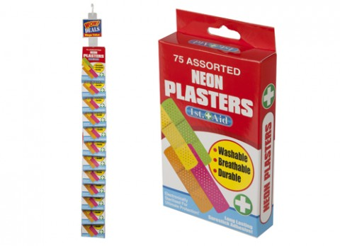 75pc neon plasters in pvc ctd printed box - strip