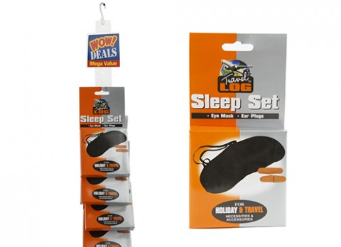 Satin travellers eyemask with ear plugs - strip