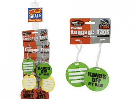 2pk neon comical plast luggage tags - strip