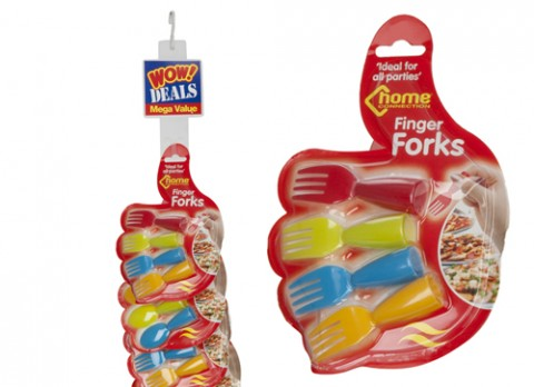 4pc 2 asst pks of finger fork-spoon on hand shape - strip